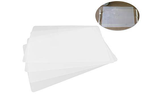 Clear Placemats for Table, Dining and Kitchen, Made in USA (Set of 4)