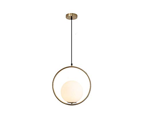 BOKT Mid Century Modern 1-Light Chandeliers Lighting, Golden with White Frosted Glass Globe Lampshade Pendant Indoor Hanging Light Fixture (A-Large)