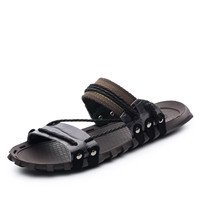 Xing Lin Sandalias De Verano Los Hombres Sandalias_Nuevas Sandalias De Cuero De Hombres Jóvenes Fashion Tamaño Grande Black and gray