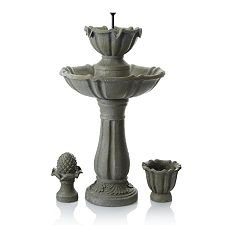 Yeiser 3 Tier All Weather Battery Powered Garden Water Fountain
