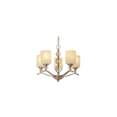 Hampton Bay 19705-000 Laurel Hill 5-Light Brushed Nickel Chandelier with Opal Glass Shades and Glass Ball Accents