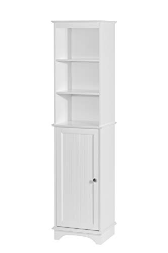 Spirich Home Freestanding Storage Cabinet with Three Tier Shelves, Tall Slim Cabinet, Free Standing Linen Tower, White…