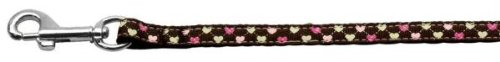 Mirage Pet Products Argyle Hearts Nylon Ribbon Leash Brown 3/8 inch Wide 4ft Long by Mirage Pet Products