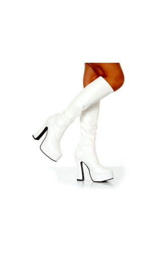 Platform Knee White High Boots (Chacha Shoes - Size 8)