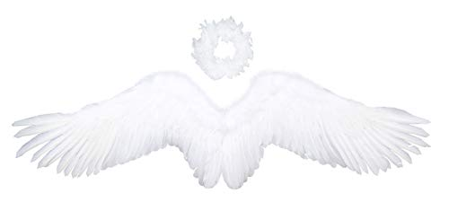 FashionWings (TM White Wide Spread Costume Feather Angel Wings Halo Adult Unisex