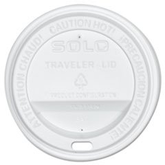 SOLO Cup Company Traveler Drink-Thru Lid, White, 300/Carton -