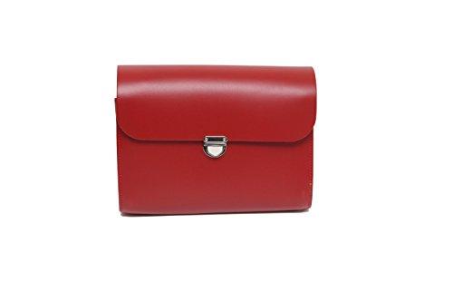 Rosso Vera Pelle Satchel Croce borsa corpo con fibbia di chiusura e tracolla regolabile