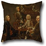 Pillowcover Of Oil Painting Francis Hayman - Portrait Of A Group Of Gentleman, With The Artist,for Wedding,christmas,pub,lounge,teens Boys,girls 20 X 20 Inches / 50 By 50 Cm(both Sides)