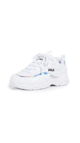 Fila Women's Ray Sneakers, White/Metallic Silver/White, 7.5 M US