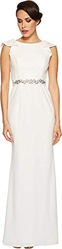 Adrianna Papell Women's Fluttered Short Sleeve Beaded Crepe Gown Ivory 6