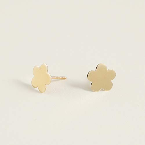 14K Yellow Gold High Polished Flower Stud Earrings for Women & Girls - Hypoallergenic for Sensitive (High Polished Girl)