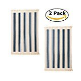 Flatwoven Cotton Area Rug with Color Stripes, Machine Washable for Kitchen Door Mat Runner