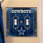 (NFL Dallas Cowboys Art-Glass Double Switch Plate)