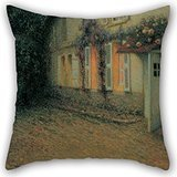 Artistdecor Cushion Cases 16 X 16 Inches / 40 By 40 Cm(2 Sides) Nice Choice For Lounge,car Seat,husband,relatives,her,wedding Oil Painting Henri Le Sidaner - Roses And Wisterias On The House -