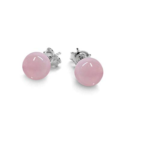 Rose Quartz 925 Sterling Silver Stud Earrings (8.0mm)