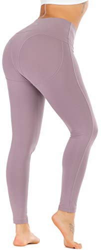 RUNNING GIRL Sexy Butt Lift Yoga Leggings High Waist Tummy Control 4 Way Stretch Yoga Pants for Women Active Running Workout Shapewear Push Up Leggings(CK2308 Purple.M)