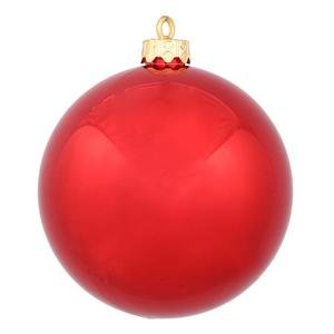 Vickerman Drilled UV Shiny Ball Ornaments, 6-Inch, Red, 4-Pack