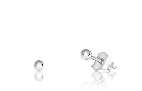 14K White Gold Ball Stud Earrings (2mm - White (18k Gold Ball Earrings)