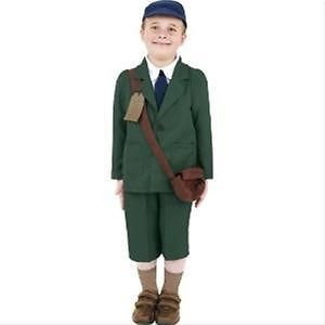 Evacuee Dressing Up Costumes (Novelties Direct Big Girls' World War Evacuee Costume Available Medium (7-9 Years) Multicolor)