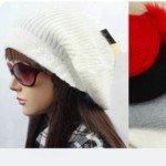 Lovely Design Rabbit Hair Knitting Leisure Hat with Hair Ball Top for Girls(White)