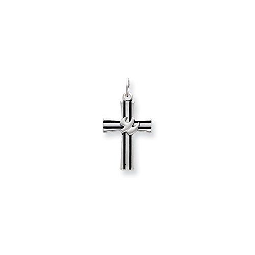 .925 Sterling Silver Dove Cross Charm Pendant