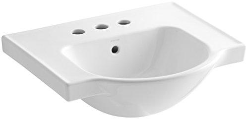 4 Vitreous China (KOHLER K-5247-4-0 Veer Centerset Sink Basin, 21-Inch, White)