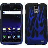 Black Blue Flame Design Rubberized Snap on Hard Shell Cover Protector Faceplate Skin Case for AT&T Samsung Galaxy II S2 I727 Skyrocket + LCD Screen Guard Film + Mini Phone Stand + Case Opener