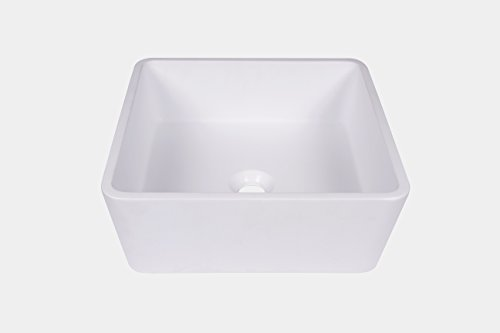 Cheap  Jano Matte White Square Resin Vessel Bathroom Sink with Pop-up Drain
