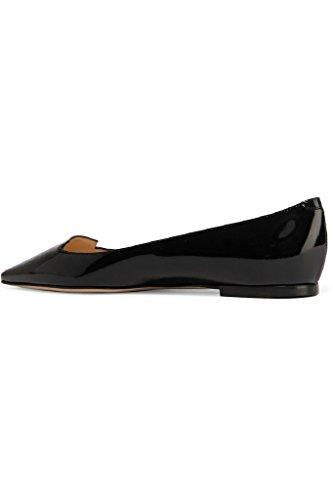 Kolnoo Damen Faschion Handgefertigt Patent Leder Ballett Parteibüro-flache Schuhe Black