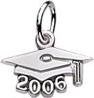 Graduation Cap 14k Gold Charm - Rembrandt Charms Graduation Cap 2006 Charm, 14K White Gold