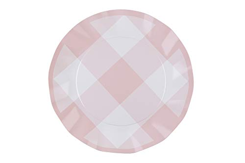 Sophistiplate Wavy Dinner Plate, Pink Gingham, 16 Pack