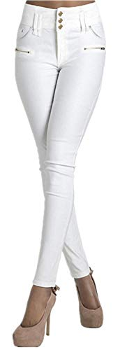 De Algodón Elástica Mezclilla Casual Modernas Cintura Elástico Vaquero Hipotenusa Vaqueros Negra Mujer Blanco Pantalones Irregular 5zxnTqfB