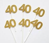 40th Birthday Cupcake Toppers Gold Glitter Forty 40 Fortieth Anniversary Party Decoration Retirement (Pack of 20) by Craft Boutique (Image #4)