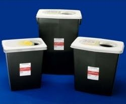 Covidien 8605RC SharpSafety RCRA Hazardous Waste Container Counterbalance Lid, 5 quart Capacity, Black (Pack of 14)