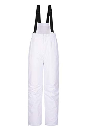 Mountain Warehouse Moon Womens Ski Pants - Warm Bib Snow Trousers White 10 (White Womens Snowboarding Pants)