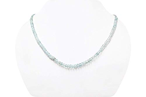 Faceted Strand - Natural Aquamarine Roundel Faceted Beads Strand with Sterling Silver clasp 16