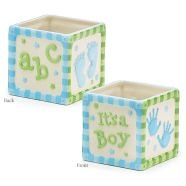 Burton & Burton 145213 Planter Baby boy Block Hand-Painted Ceramic, -