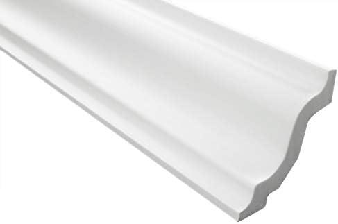 Zierleisten Sparpaket E-8 | leicht und stabil | extrudiertes Styropor | Stuckprofile | Decken-/ und Wandübergang | modern weiß | dekorativ | XPS | 72 x 72 mm | 10 Meter