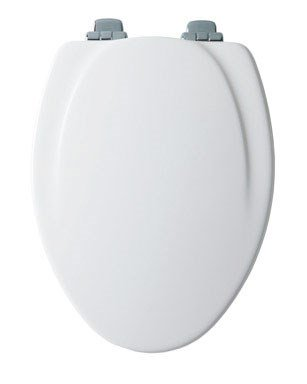 Hinge Enamel - Mayfair Elongated Toilet Seat Elongated, Molded Durable Multi Coat Enamel White Chrome Hinges