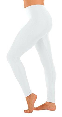 [Marvoll Women's Lycra Spandex Footless Leggings (Small, White)] (Female Bodysuit Costumes)
