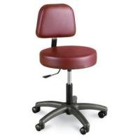 Winco Gas Lift Stool With Back, Burgundy