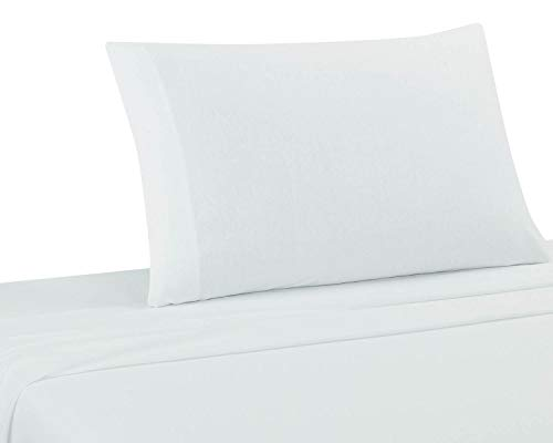 DELANNA Jersey Knit Sheet Set Soft, Breathable, Cotton Rich T-Shirt Weave (White, Twin) ()