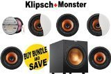 Klipsch CDT-5800-C II 8' In-Ceiling Pivoting Speaker (Qty 5) + Klipsch...