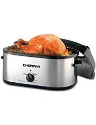 Chefman 20 Quart Roaster Oven Slow Cooker w/Window Viewing Perfect for Slow Cooking, Roasting, Baking & Serving, Self-Basting Lid, Fits a 20lb Turkey or Roast, Large Family Size, Stainless Steel