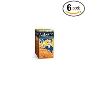 Airborne Chewable Tablets, Citrus Flavored, 30-Count (Pack of 6) by AIRBORNE INC