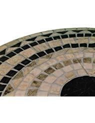 "Mosaic Table Cloth Round 36"" to 48"" Elastic Edge Fitted Vinyl Table Cover Grey Brown Black Vesuvius Stone Pattern NEW"