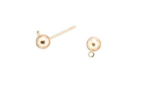 Ball Earstud with Loop, 16K Gold-Finished Gold-Finished Brass with Surgical Stainless Steel Pin, 5mm Ball sold per pack of 20