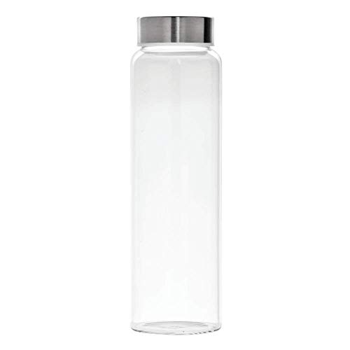 EuroStyle 1 Liter - 32 ounce Borosilicate Glass Water Bottle with Metal Lid