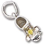 Rembrandt Baby Shoe Charm (Rembrandt Charms Baby Shoe Charm with Simulated Topaz, 14K White Gold)