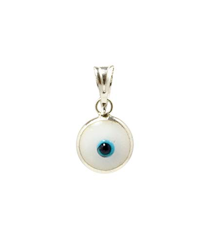 (MIZZE Made for Luck 925 Sterling Silver 7 MM White Round Glass Evil Eye Charm (Pendant Only) )